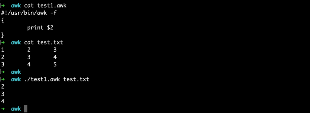 linux awk shell script exec
