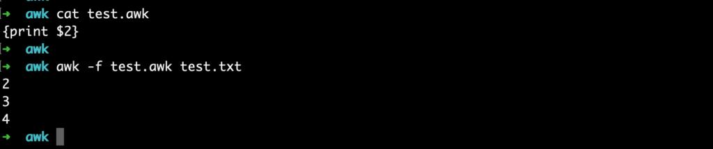 linux awk script file exec