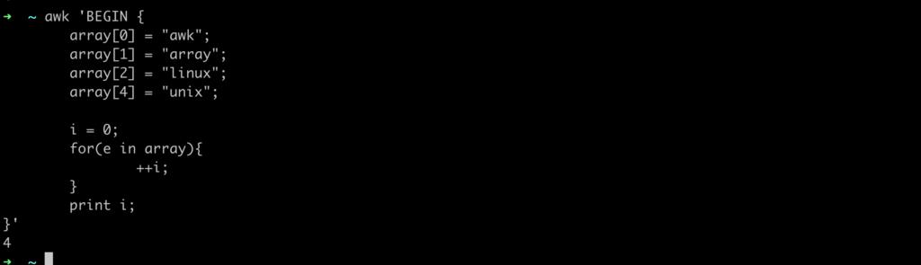 awk array length